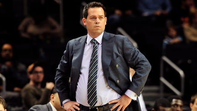 Manhattan coach Steve Masiello reacts during a game this season.