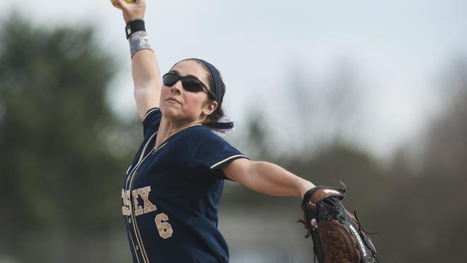 Essex pitcher Allison Rutz (6) delivers a pitch during the high school girls softball game between the Mount Abraham Eagles and the Essex Hornets at Essex high school on Thursday afternoon.