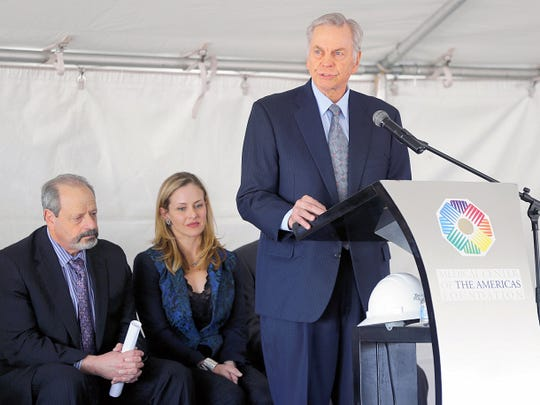 Jack Cardwell, chairman of the Borderplex Realty Trust, speaks last year at the groundbreaking ceremony for the Cardwell Collaborative building, a research building in Central El Paso.