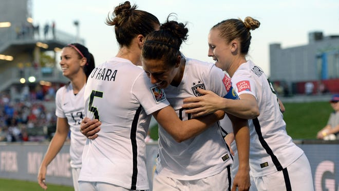 USWNT midfielder Carli Lloyd celebrates her goal against China in the quarterfinal round.