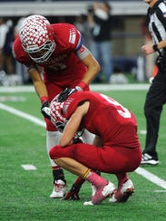 Sweetwater defensive back Kobe Clark (8) consoles teammate
