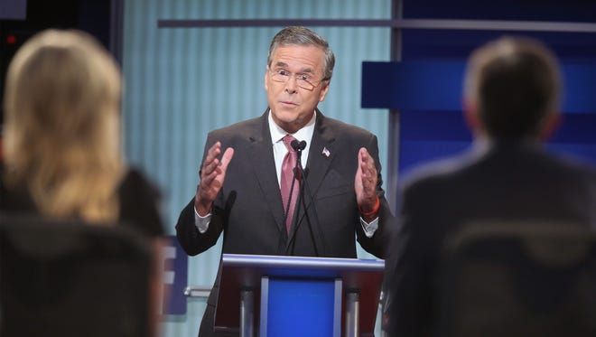 Republican presidential candidate Jeb Bush fields a question during the first Republican presidential debate.