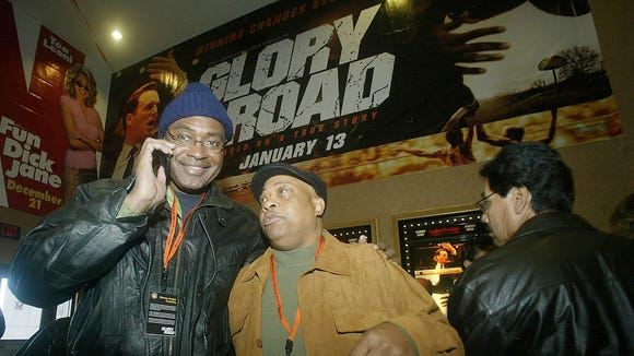 """FILE - In this Nov. 28, 2005, file photo, David Lattin, left, and Willie Worsley chat before watching a screening of the movie """"Glory Road,"""" based on the 1966 NCAA-champion Texas Western college basketball team, in El Paso, Texas."""