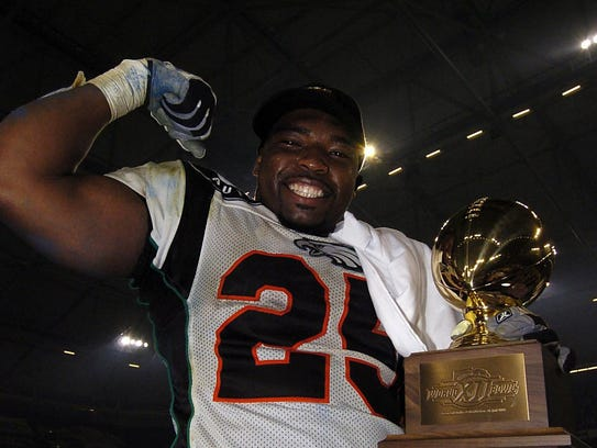 World Bowl champion and MVP of the game Eric McCoo.