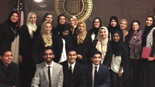 Back row, left to right: Suzy Ismail, Aya Mansour, Meryem Turan, Layla Sakr, Zeynab Kwara, Ranya Essafi, Isra Thange, Safiyyah Mosaad, Jenee Ciccarelli and Aysha Azmat. Middle row, left to right: Jannah Rostoum, Nora Asker, Maryam Mairaj, Hana Memon and Afraah Shaikh. Bottom row, left to right: Noor Rostoum, Uthman Qureshi, Alyan Usmani and Faizan Ahmed.