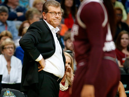 Connecticut head coach Geno Auriemma reacts to his teams poor start against Mississippi State in the first half of an NCAA college basketball game in the semifinals of the women's Final Four in Dallas on Friday, March 31, 2017.  (Tom Fox/The Dallas Morning News via AP)