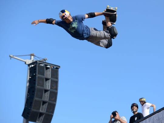 Sandro Dias performs during the SKB Vert Finals during the Dew Tour in Ocean City, Md. on Saturday, June 22, 2013.