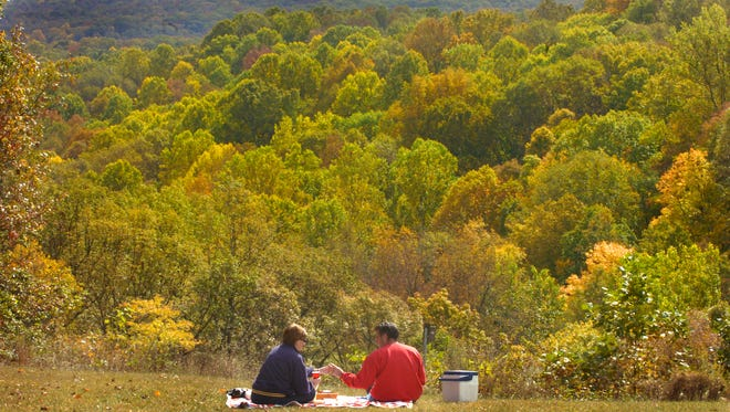 Eric Werner,right, and and his wife  Deborah, from Indianapolis, share a picnic basket to watch changing colors of the leaves in Brown County State Park Monday afternoon near Nashville IN.