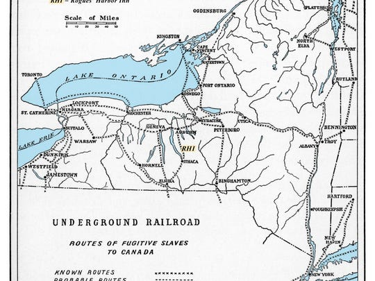 Underground Railroad New York Map.A Tunnel From Rogues Harbor To Cayuga Lake