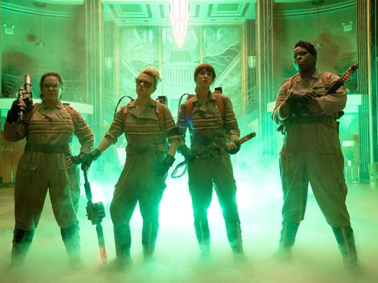 "Melissa McCarthy, from left, Kate McKinnon, Kristen Wiig and Leslie Jones are seen in ""Ghostbusters."""