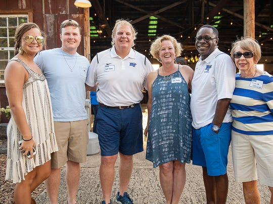 Alex Baker, left, Jack Jones, Mark and Tisha Jones, MTSU President Sidney A. McPhee and Joyce Taylor are shown during the 2017 MTSU Pigskin Pregame last August. This year's preseason social event will be held starting at 6 p.m.  Saturday, Aug. 18, at Steel Barrel Brewery at Hop Springs Farm, which is owned by Life Is Brewing CEO Mark Jones.
