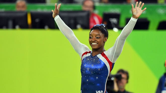 Simone Biles looks for her fourth gold medal of the Rio Olympics when she competes in the floor exercise.