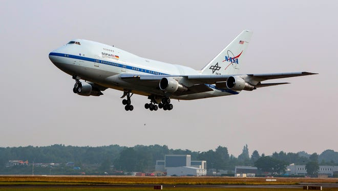 NASA's Stratospheric Observatory for Infrared Astronomy (SOFIA) landing at Hamburg, Germany, on June 28, 2014 following a long flight from its base at NASA Armstrong Flight Research Center in Palmdale, California.
