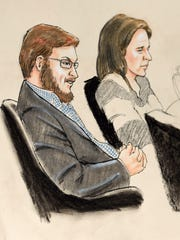 A courtroom sketch from Jan. 20, 2015, shows accused