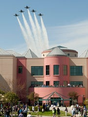 Five Blue Angels' jets from the U.S. Navy Flight Demonstration