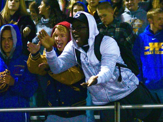 Waynesboro's student section cheers on the Indians
