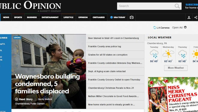 The Chambersburg Public Opinion's new front page online.