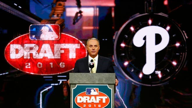 Commissioner Rob Manfred announces the No. 1 pick by the Phillies.