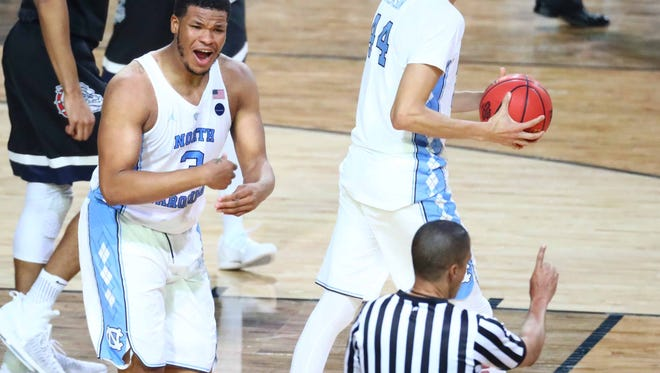 North Carolina Tar Heels forward Kennedy Meeks (3) reacts to a call during the second half against the Gonzaga Bulldogs in the championship game of the 2017 NCAA Men's Final Four at University of Phoenix Stadium.