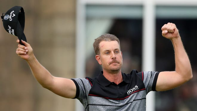 Henrik Stenson celebrates after winning the British Open on Sunday at Royal Troon.