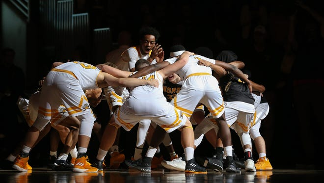 The Northern Kentucky Norse get ready for the the first half of the college basketball game between the IUPUI Jaguars and the Northern Kentucky Norse, Thursday, Dec. 28, 2017, at BB&T Arena in Highland Heights, Ky.