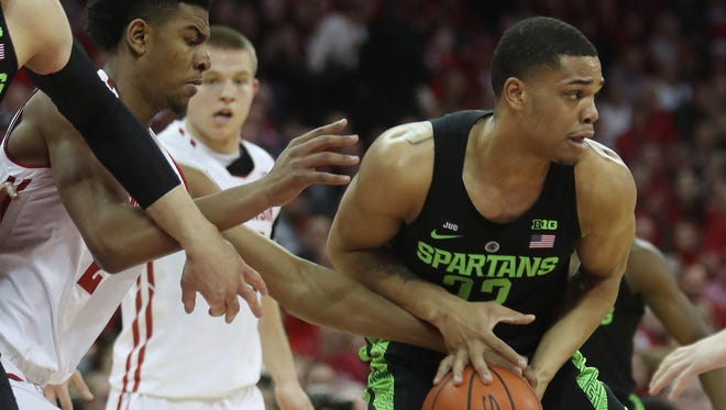 Michigan State's Miles Bridges had a tough day Sunday in Madison.