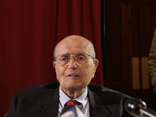 United States Representative John Dingell, 87, takes questions from reporters after a luncheon where he addressed his retirement from being the longest serving member of congress at the Southern Wayne County Regional Chamber at Crystal Gardens in Southgate on Monday February 24, 2014.