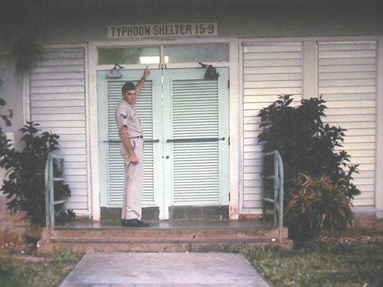Veteran Victor Vreeland outside a typhoon shelter at the Marbo complex at Andersen AFB in the 1960s.