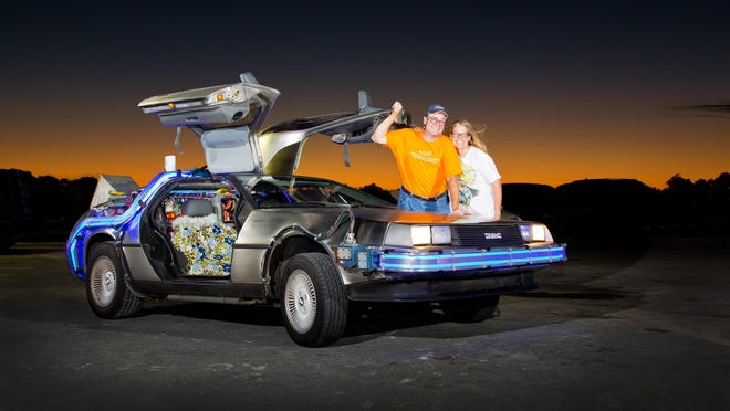 Oliver and Terry Holler with their Back to the Future replica car will attend a Fort Myers Miracle game Saturday.