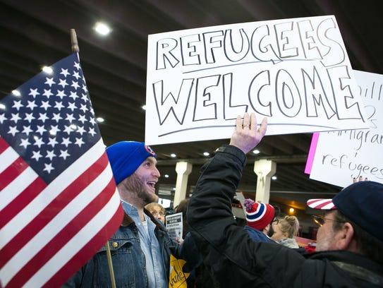 Thousands of protesters crowd Philadelphia International