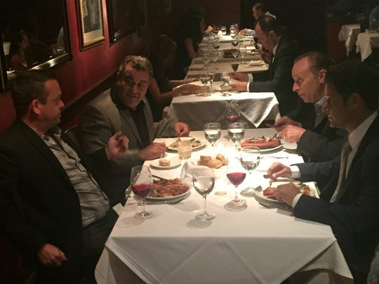 """A scene from """"Who's Jenna...?"""" shot at Verve Restaurant in Somerville.  Pictured clockwise from left are Garry Pastore (Joe Barcia), Vic Dibitetto (Steve Bower), Bill Sorvino (Jonathan Burke), and Lenny Venito (Dominick Grillo)."""