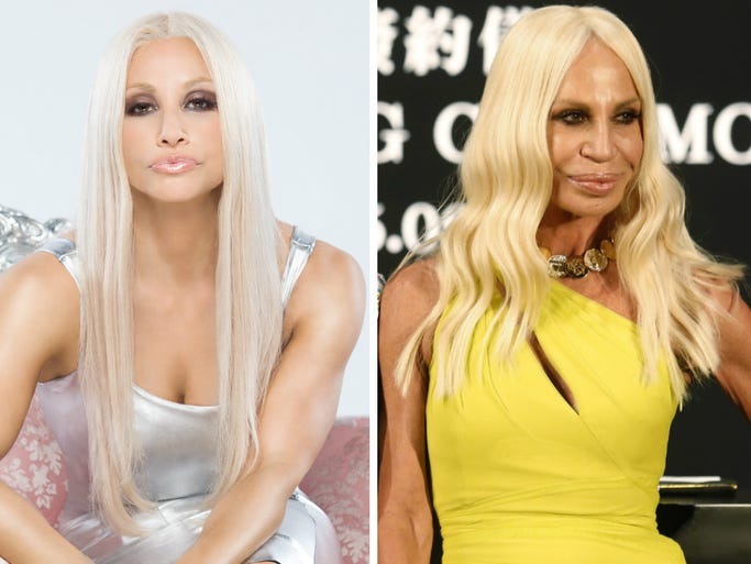 Gina Gershon, left, will offer up her interpretation of fashion icon Donatella Versace, right, when Lifetime television movie 'House of Versace' airs Saturday night. USA TODAY's Arienne Thompson matches 10 other designers with their perfect Hollywood counterparts.
