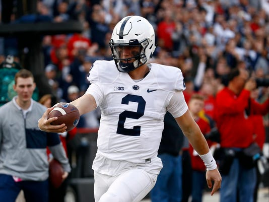 Penn State's Tommy Stevens rushes for a touchdown in the first half of an NCAA college football game against Maryland in College Park, Md., Saturday, Nov. 25, 2017. (AP Photo/Patrick Semansky)