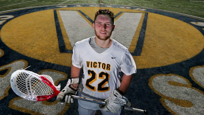 Chayse Ierlan on the turf field at Victor High School Thursday, June 14, 2018. Ierlan is the All Greater Rochester boys lacrosse player of the year for 2018.