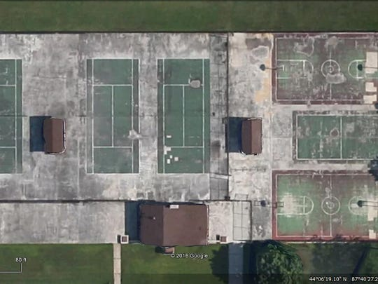A Google Earth image of the tennis and basketball courts