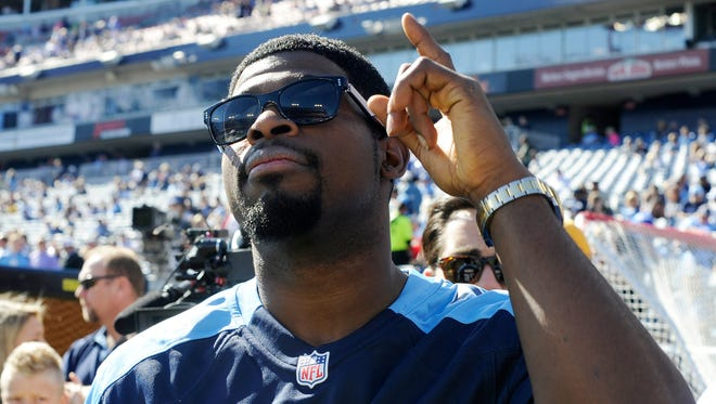 Predators  defenseman P.K. Subban watches the Titans' pregame before the game against the Colts  at Nissan Stadium Sunday, Oct. 23, 2016, in Nashville, Tenn.