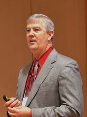 Joe Outlaw speaks at the recent Ag Forum in Austin.