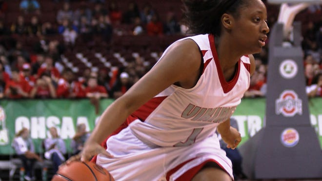 Princeton High School senior Kelsey Mitchell drives from the wing during a 61-55 Divsion I state championship win over North Canton Hoover March 15.