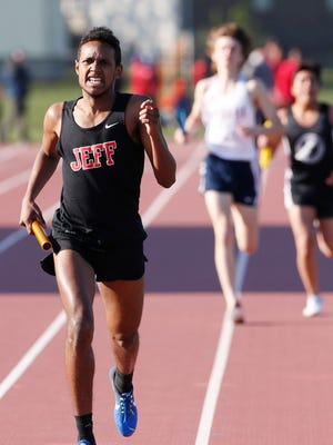 Juan Tirado sprints to the finish of the boys 4 X 800 meter relay as Lafayette Jeff wins with a time of 8:29:26 during the NCC track and field meet Friday, May 5, 2017, at Lafayette Jeff.