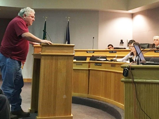 Joseph Bobich speaks against issuing the permit to allow construction of the proposed Dollar General on Va. 42 in Mt. Solon at an Augusta County Board of Zoning Appeals Public Hearing on Thursday, April 6, 2017.