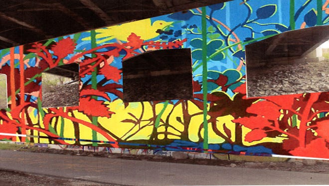 A rendering shows the work artist Mark Calloway will paint on the Fourth Street Bridge along the B & O Trail.