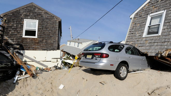Cars and homes in Normandy Beach, N.J., were destroyed by Hurricane Sandy in fall 2012.