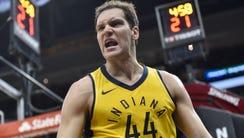 iIndiana Pacers forward Bojan Bogdanovic (44) reacts