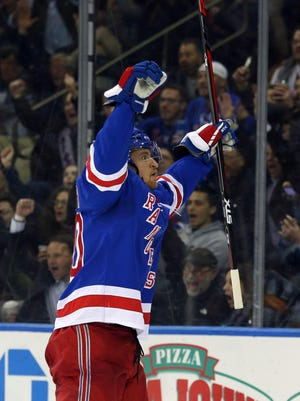 New York Rangers forward Michael Grabner (40) celebrates his goal against the Columbus Blue Jackets during the second period at Madison Square Garden.