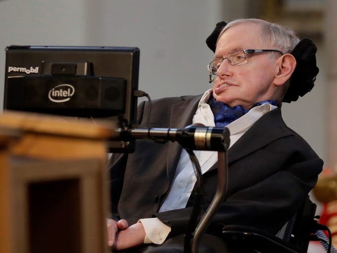 Professor Stephen Hawking delivers a keynote speech
