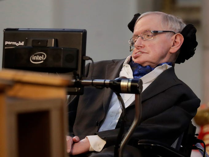 Professor Stephen Hawking delivers a keynote speech