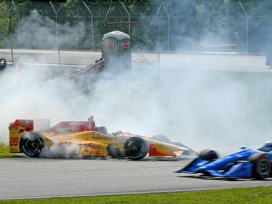 Ryan Hunter-Reay spins as he turns into the Esses Sunday