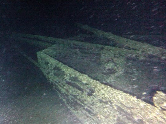 "In this undated photo provided by Roger Pawlowski, the bow area of the ""Black Duck"" is shown in 350 feet of water off Oswego, N.Y. Underwater explorers say they've found the 144-year-old Lake Ontario shipwreck of the rare sailing vessel that typically wasn't used on the Great Lakes. The 51-foot-long, single-masted ship known as a scow-sloop sank during a gale while hauling goods along the lake's eastern end in August 1872."