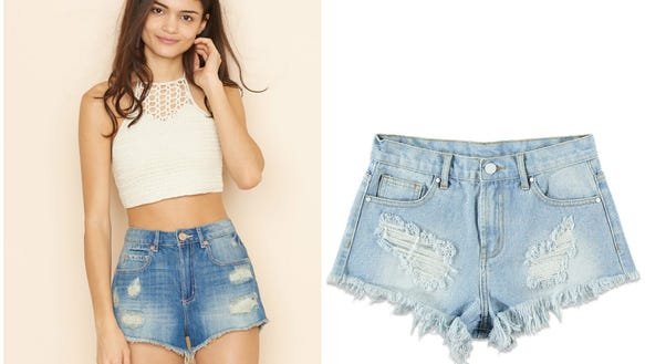 Festival shorts, $29 at garageclothing.com; Denim cutoffs,