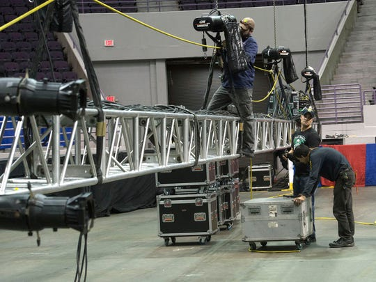 Mobile, Ala. based Sound Assoc. prepares the Pensacola Bay Center for Wednesday's Trump campaign visit late Tuesday afternoon. The bay centers is expecting capacity crowd for presidential campaign stop.